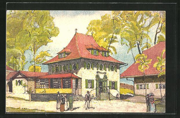 Künstler-Ansichtskarte Bern, Schweizerische Landesausstellung 1914, Strassenpartie