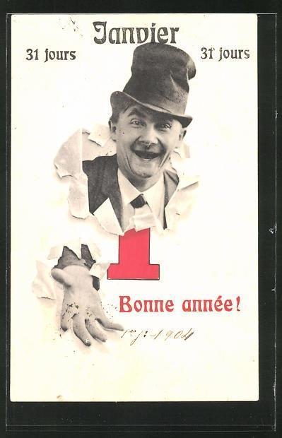 Ansichtskarte Mann Mit Hut Durch Papier Neujahrsgruss Bartko Reher