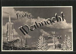 Ansichtskarte Kriegsweihnacht 1944, Fotomontage mit Kerze, Dom