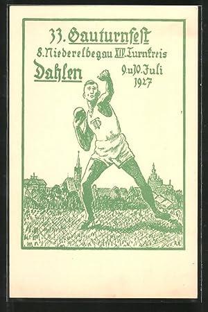 Künstler-Ansichtskarte Dahlen, 33. Gauturnfest 1927, 8. Niederelbegau