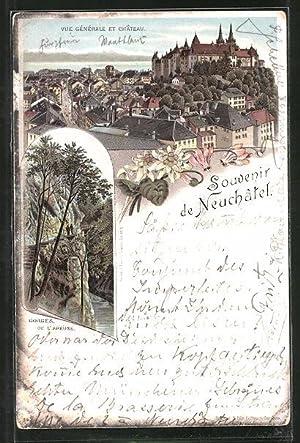 Vorläufer-Lithographie Neuchâtel, 1895, Vue générale et château,