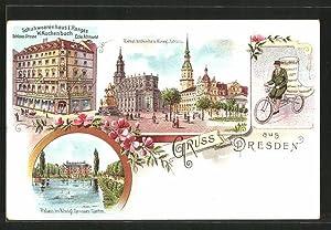 Lithographie Dresden, Schuhgeschäft W. Kuchenbuch, Schloss-Strasse Ecke