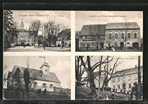 Ansichtskarte Kitzscher, Gasthof zum wilden Mann, Schule,