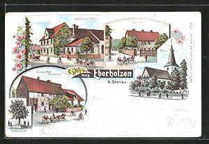 Lithographie Eberholzen, Gasthaus Rieks, Forsthof, Kaiserl. Post