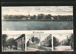 Ansichtskarte Kitzscher, Dorfstrasse, Kirche und Schulen, Schloss,