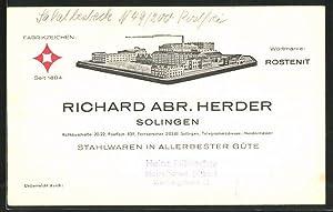 Vertreterkarte Solingen, Stahlwaren-Fabrik Richard Herder, Fabrikgebäude