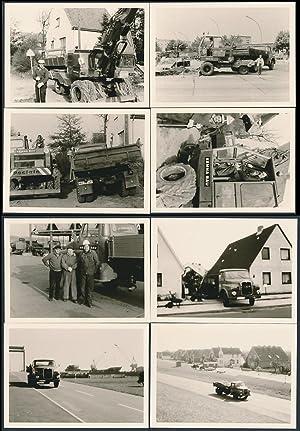 8 Fotografien LKW MAN, Lastwagen, Poclain-Radbagger der