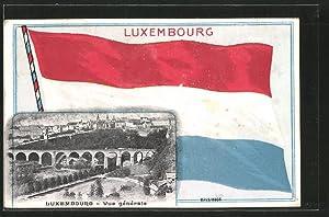 Ansichtskarte Luxembourg, Vue générale, Luxemburgische Flagge
