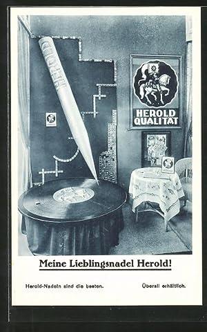 Ansichtskarte Herold-Nadel, Plattenspieler, Schellack