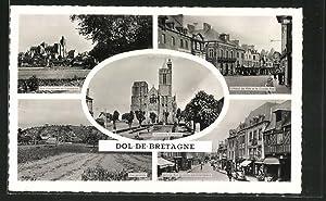 Carte postale Dol-de-Bretagne, Vue d'ensemble et Cathedrale,