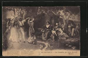 Künstler-Carte postale Valère Bernard: La Farandole, Paare