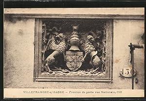Carte postale Villefranche-sur-Saône, fronton de porte à