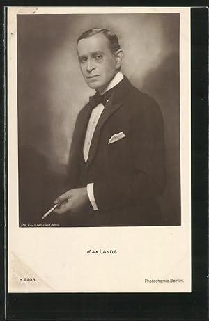 Ansichtskarte Schauspieler Max Landa, österreichischer Stummfilmschauspieler im