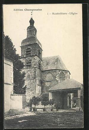 Carte postale Hautvillers, L'Église, vue extérieure