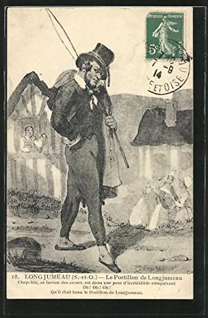 Carte postale Longjumeau, le postillon fait le