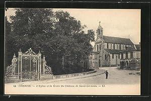 Carte postale Corbeil, L'Eglise et la Grille
