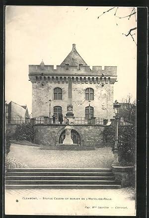 Carte postale Clermont, Statue Cassini et Donjon