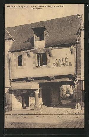 Carte postale Dol-de-Bretagne, Vieille Maison, Grande-Rue, Café
