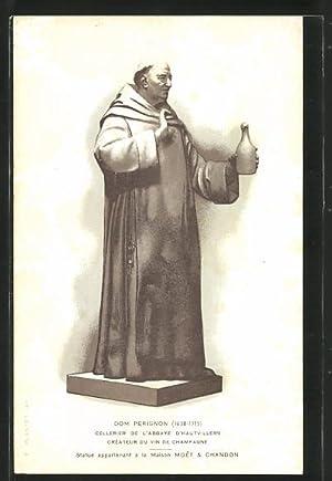 Ansichtskarte Hautvillers, Mönch hält eine Flasche Wein