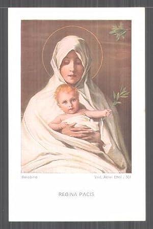 Heiligenbild Regina Pacis, rückseitig Messopfer 1934, Mönch