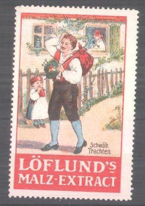 Reklamemarke Löflund's Malz-Extract, Wanderer in schwäbischer Tracht