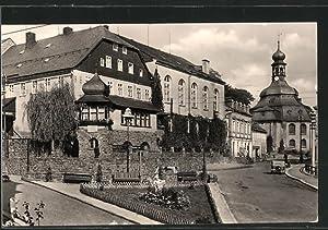 "Ansichtskarte Klingenthal, Hotel ""Altes Schloss"" mit Kirche"