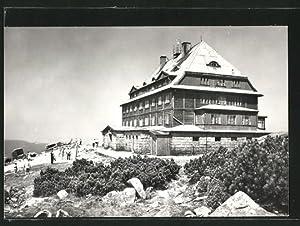Ansichtskarte Karkonosze, Besucher an der Berghütte