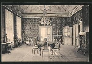 Ansichtskarte Müglitztal, Schloss Weesenstein, Gesellschaftssaal mit Ledertapeten