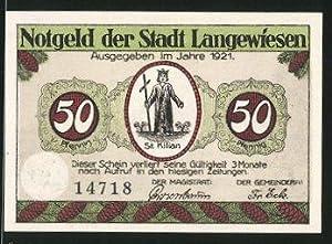 Notgeld Langewiesen 1921, 50 Pfennig, St. Kilian,