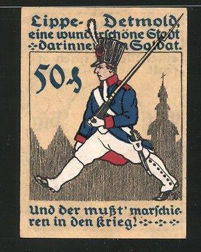 Notgeld Detmold (Lippe) 1921, 50 Pfennig, Stadtwache