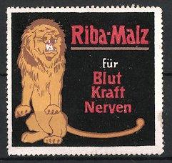 """Reklamemarke """"Riba-Malz""""-Kräftigungspräparat, """"Für Blut und Kraft!"""", Löwe"""