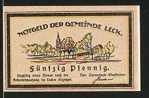 Notgeld Leck, 50 Pfennig, Kriegerdenkmal, Ortsansicht