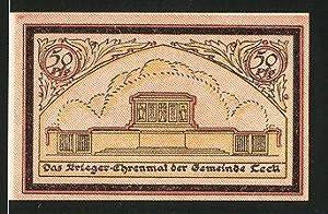 Notgeld Leck, 50 Pfennig, Kriegerdenkmal, Ortsmotiv