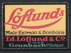 Reklamemarke Löflund's Malz-Extrakt der Firma Löflund, Co,