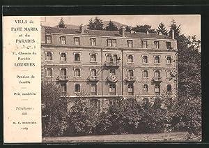 Carte postale Lourdes, Villa de l'Ave Maria