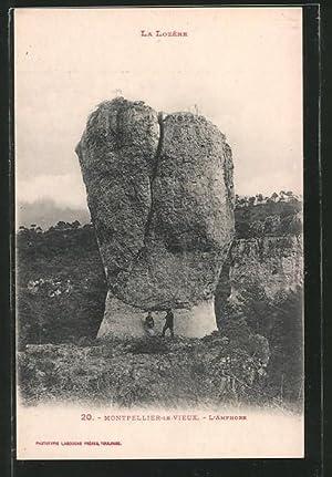 Ansichtskarte Montpellier-le-Vieux, L'Amphore mit Besuchern, Gesteinsformation