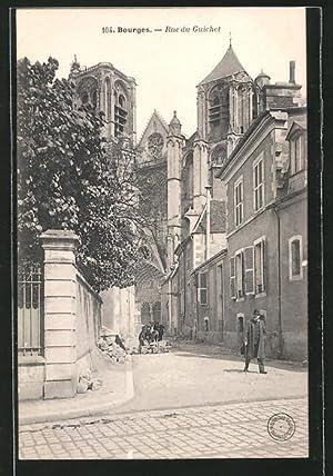 Carte postale Bourges, Rue du Guichet, piétons