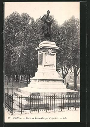 Carte postale Mâcon, statue de Mamartine par