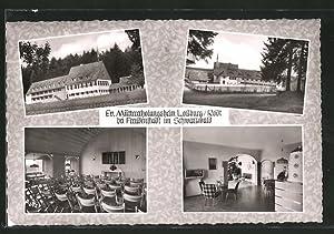 Ansichtskarte Lossburg, Ev. Müttererholungsheim, Aussen- und Innenansicht