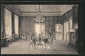 Ansichtskarte Gesellschaftssaal mit Ledertapeten in Schloss Weesenstein