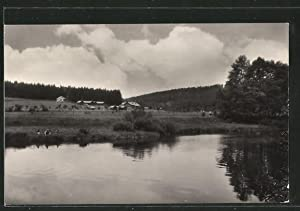 Ansichtskarte Kaunitz, Teilansicht am Fluss