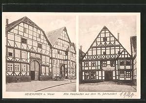 Ansichtskarte Beverungen, Alte Holzbauten aus dem 16.