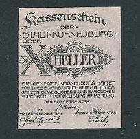 Notgeld Korneuburg 1920, 10 Heller