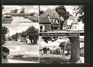 Ansichtskarte Altenkirchen, Konsum-Landwarenhaus, Kirche am Markt, Kap