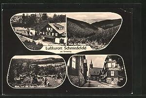 Ansichtskarte Schmiedefeld, Bahnhofstrasse mit Gasthaus zur Henne,