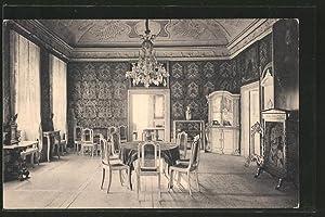 Ansichtskarte Weesenstein, Schloss, Gesellschaftssaal mit Ledertapeten