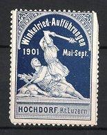 Reklamemarke Winkelried-Aufführung in Hochdorf 1901, Mann mit