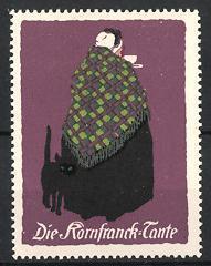 Künstler-Reklamemarke Ludwig Hohlwein, Kornfranck-Kaffee, die Kornfranck-Tante mit