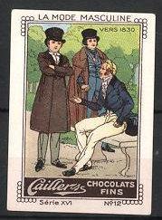 Reklamemarke Cailler's Chocolats Fins, La Mode Masculine,
