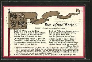 Präge-Ansichtskarte Das Eiserne Korps Marschlied und Standarte